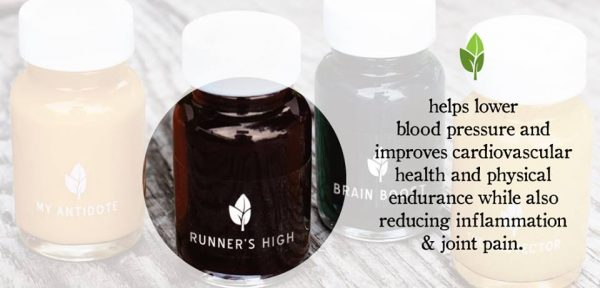 Photo per Luna's Facebook page with this description: Runner's High is a blend of antioxidant rich beet, cinnamon and maca to give you the endurance and support you need to take it to the next level.